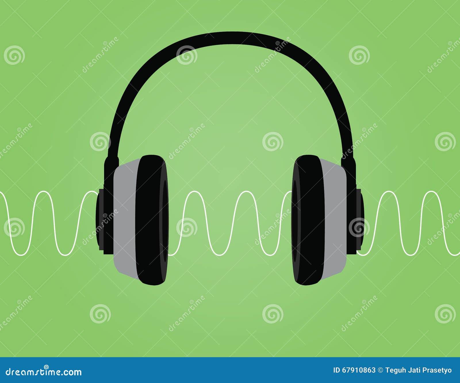 耳机噪声信号声波传染媒介例证有绿色背景