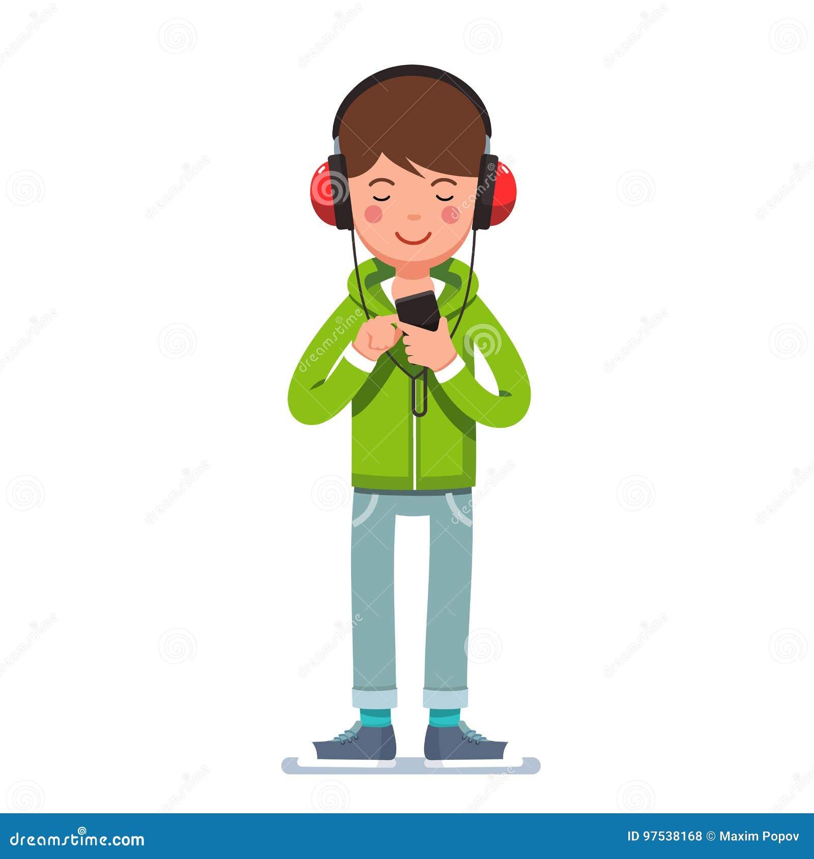 耳机的青少年的男孩听到在电话的音乐的