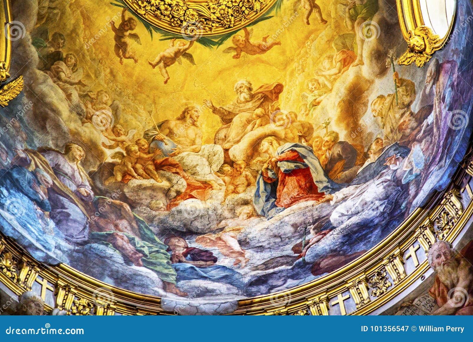 耶稣壁画圆顶天花板圣玛丽亚马达莱纳半岛教会罗马Ita