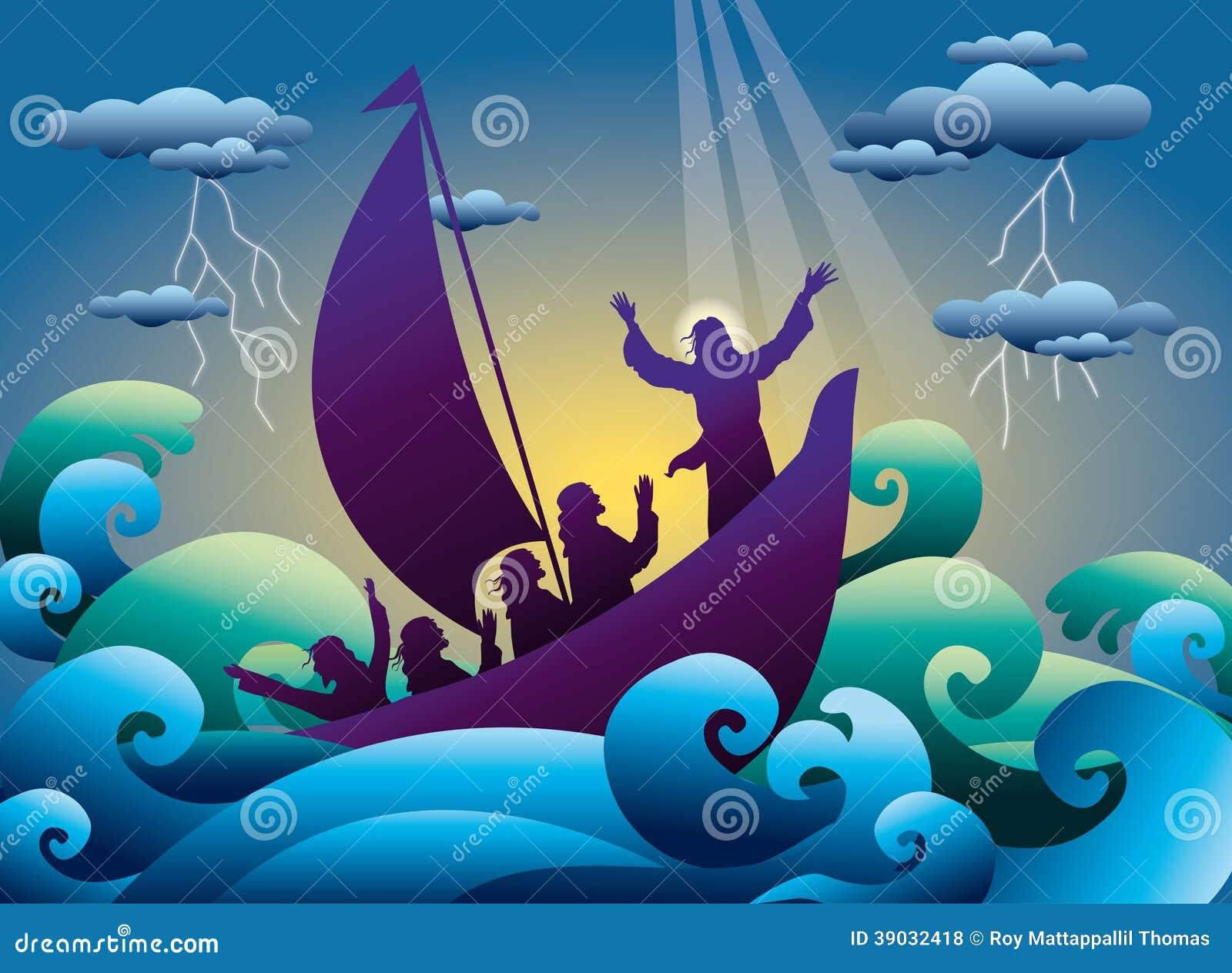 耶稣镇定在小船的风暴