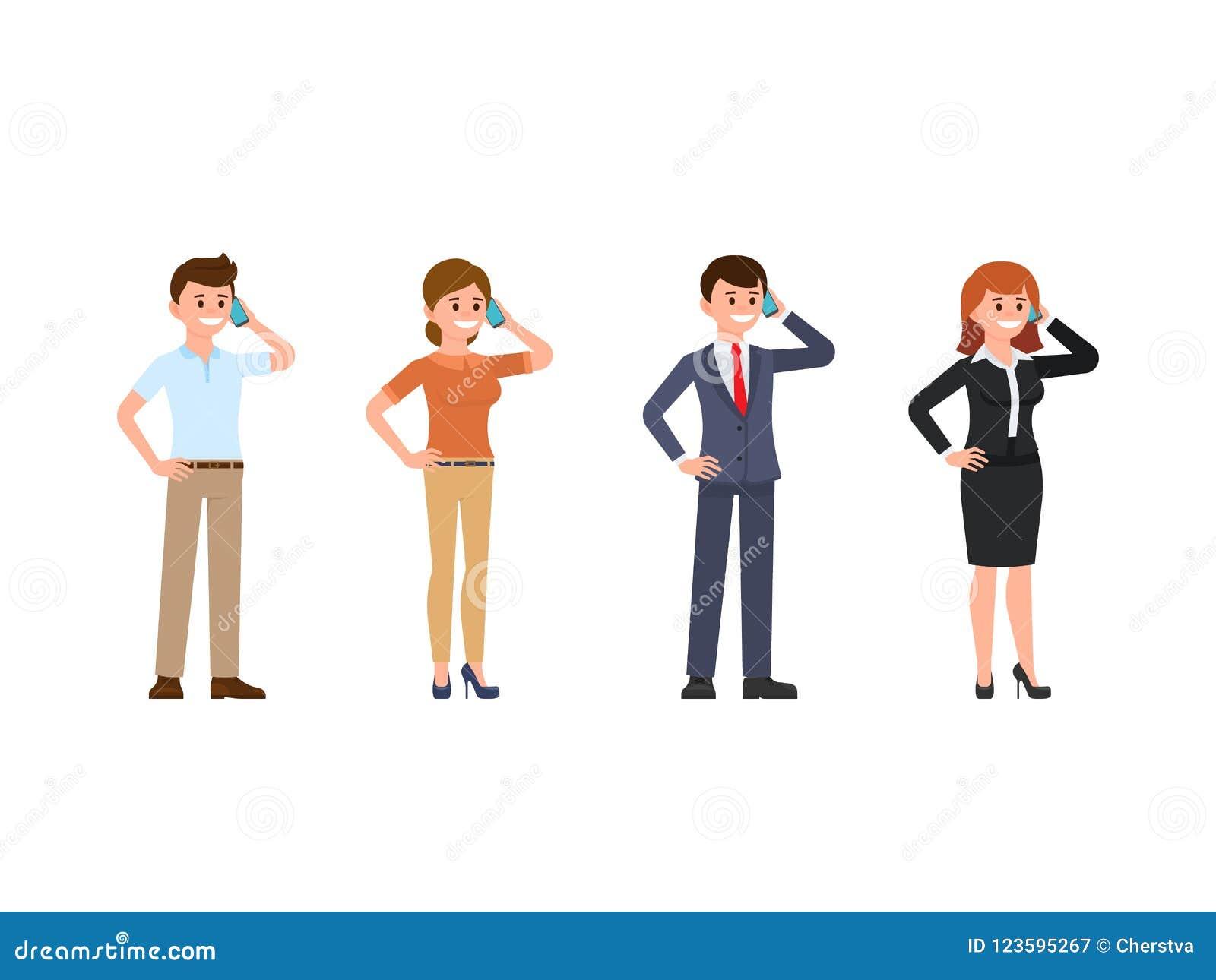 职员谈话在电话动画片字符集 使用机动性的愉快的青年人