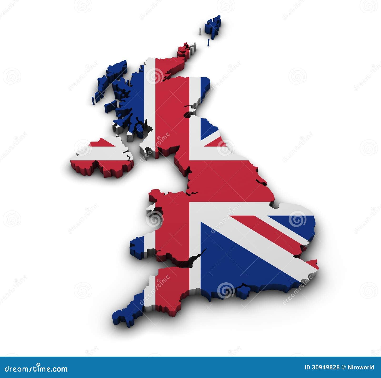大英国背景.塑造联合王国地图3d与在白色隔绝的旗子的.图片