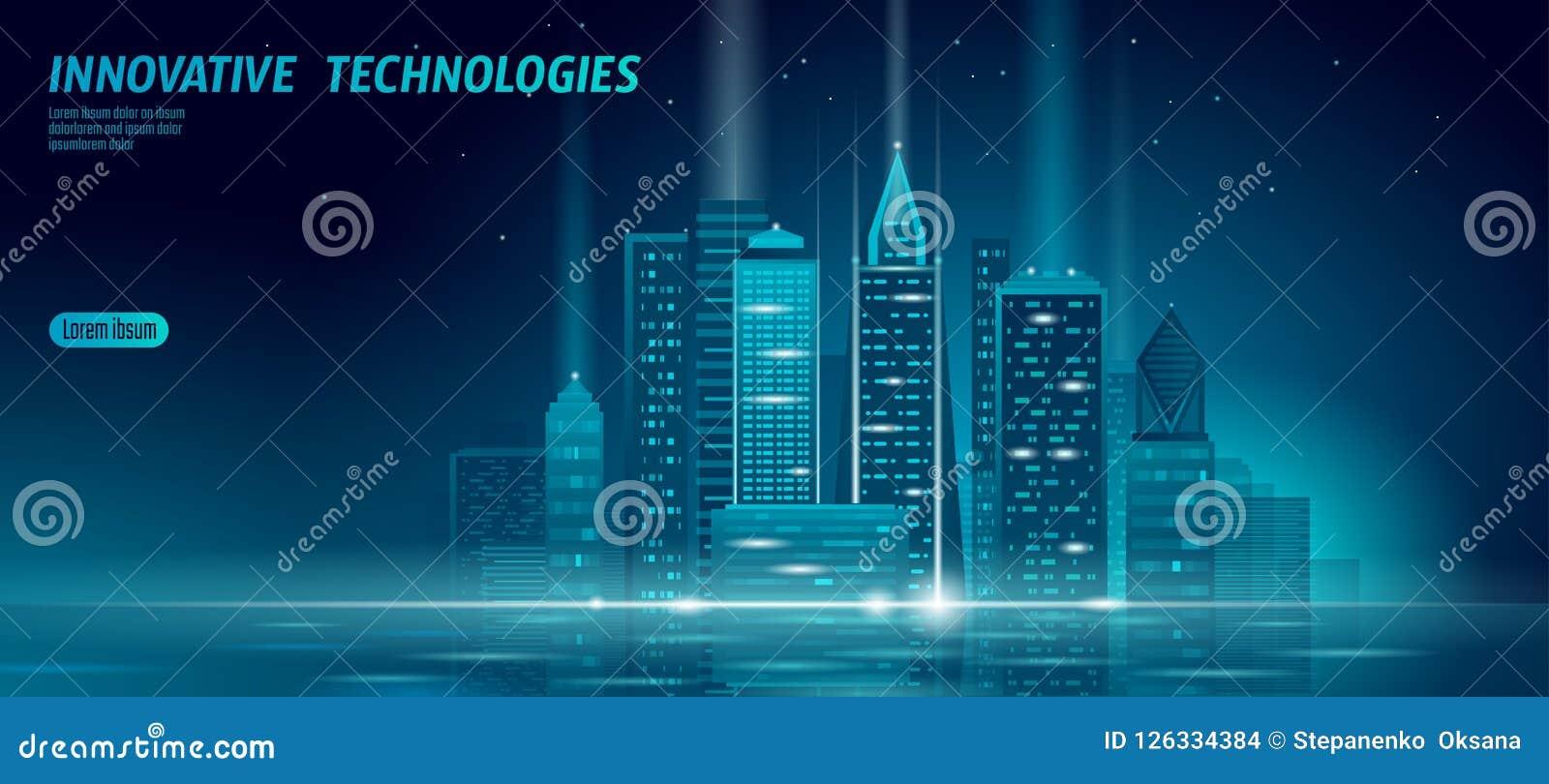 聪明的城市3D氖发光的都市风景 聪明的大厦自动化夜未来派企业概念 在网上网蓝色