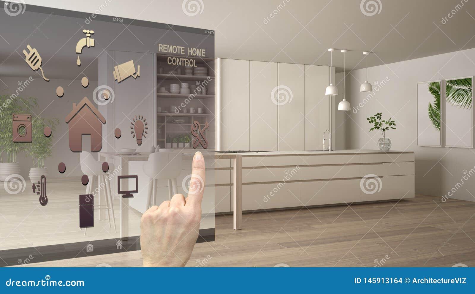 聪明的家庭控制概念,控制从流动应用程序的手数字接口 显示现代白色的被弄脏的背景和木