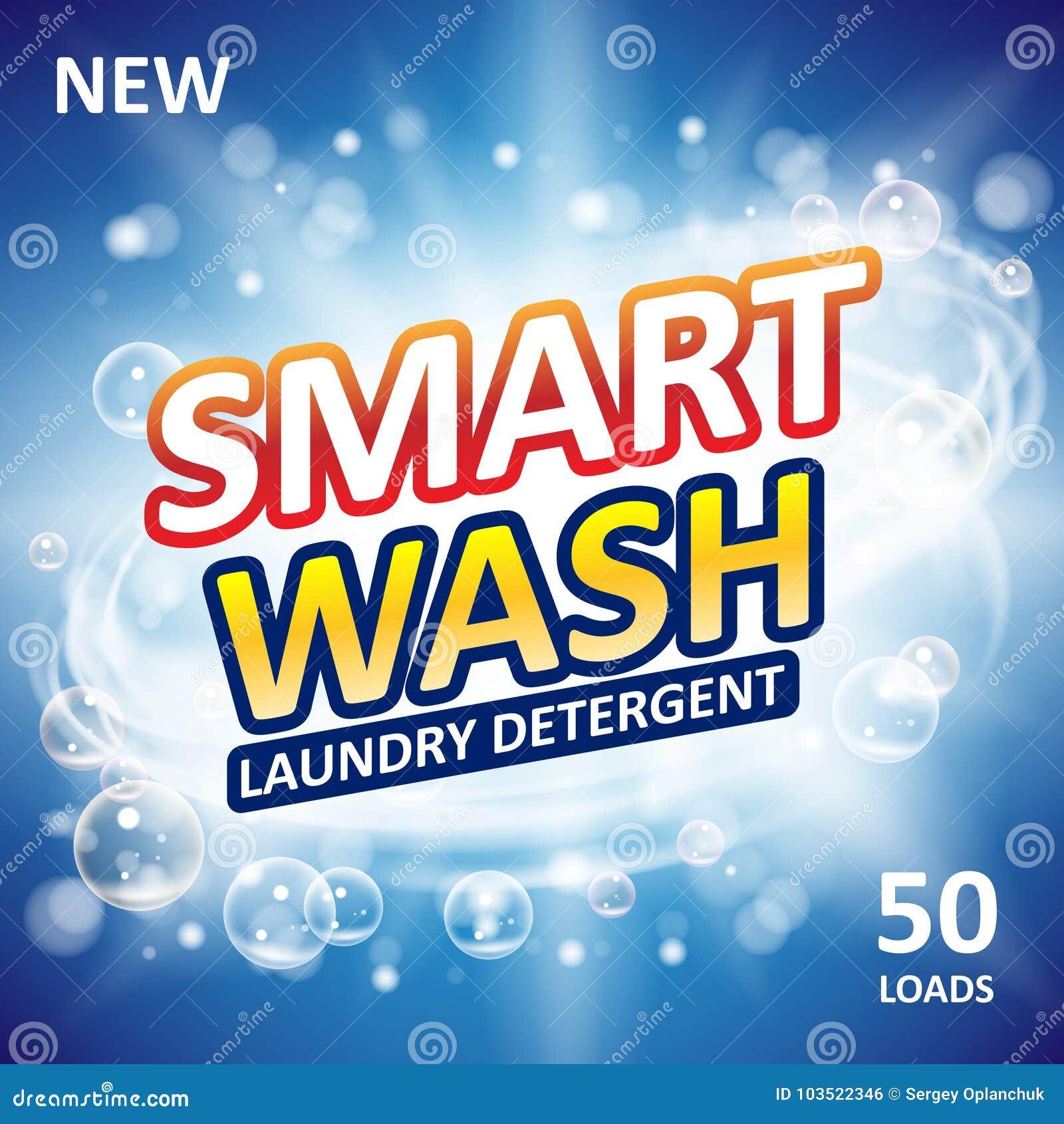 聪明的干净的肥皂横幅广告设计 洗涤剂新干净的模板 洗衣粉或液体洗涤剂包裹