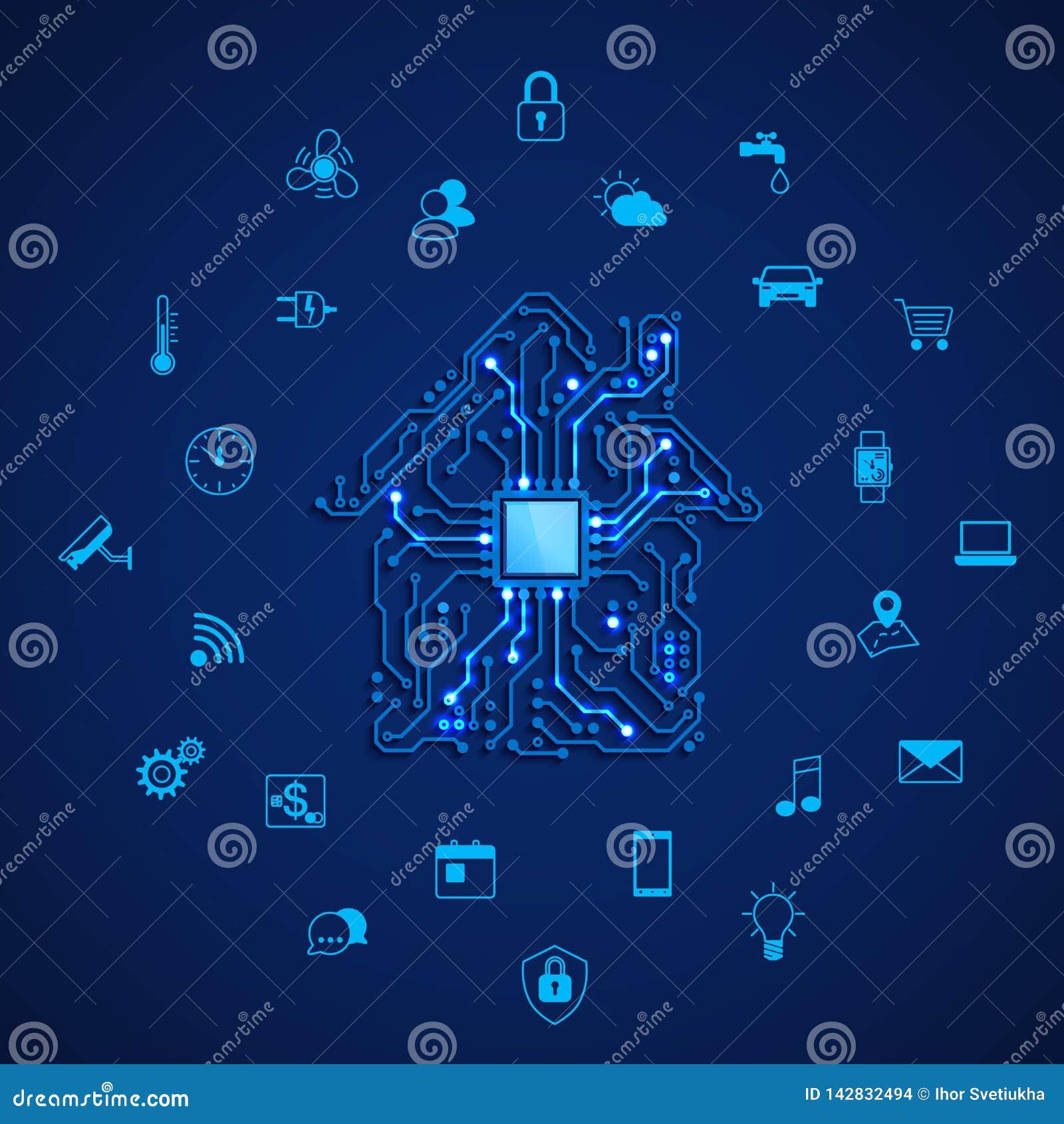 聪明的房子或IOT概念 遥控聪明的房子 议院电路和聪明的家用电器象 在蓝色的传染媒介例证