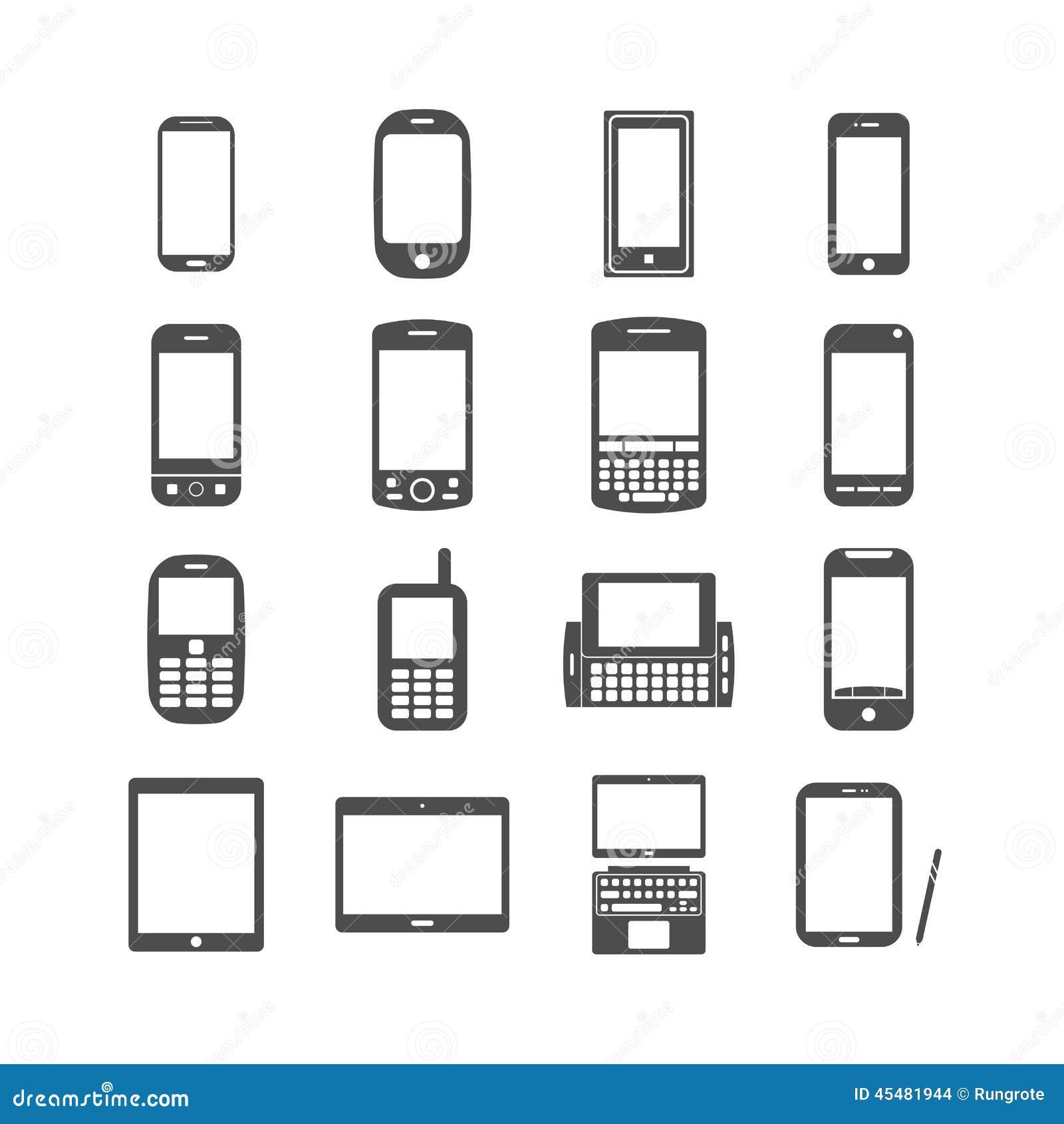 聪明的电话和片剂象集合,传染媒介eps10