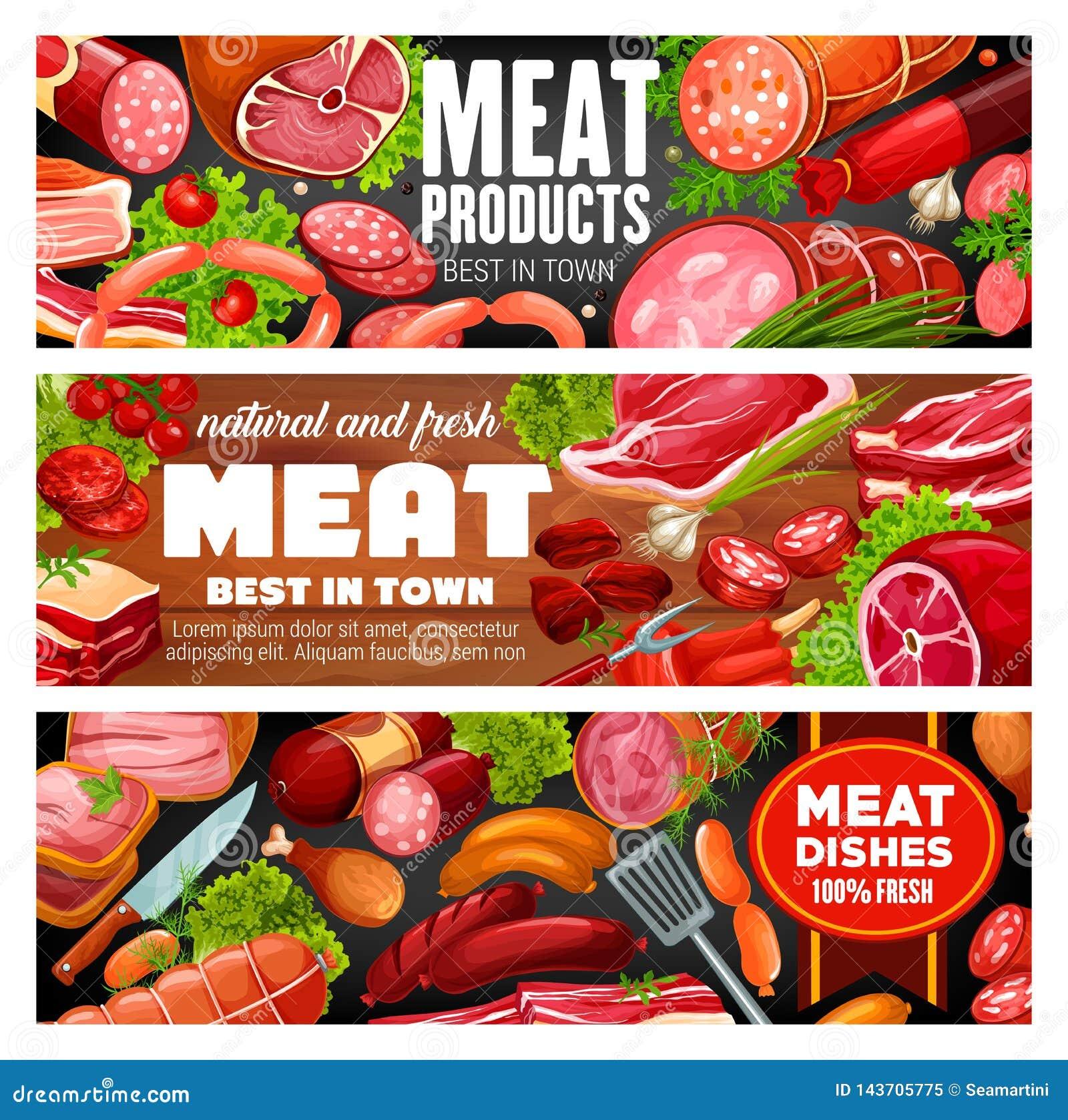 肉店工作肉和香肠食品