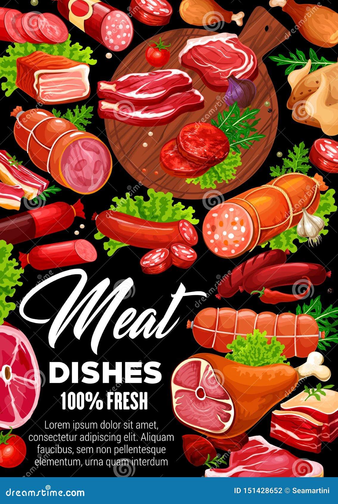 肉香肠、牛肉和猪肉牛排,鸡,火腿