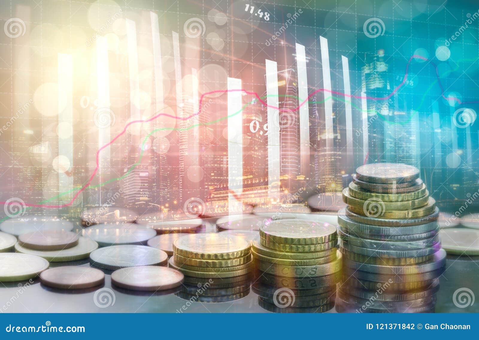 股市或外汇贸易的图表和烛台绘制适用于图表金融投资概念