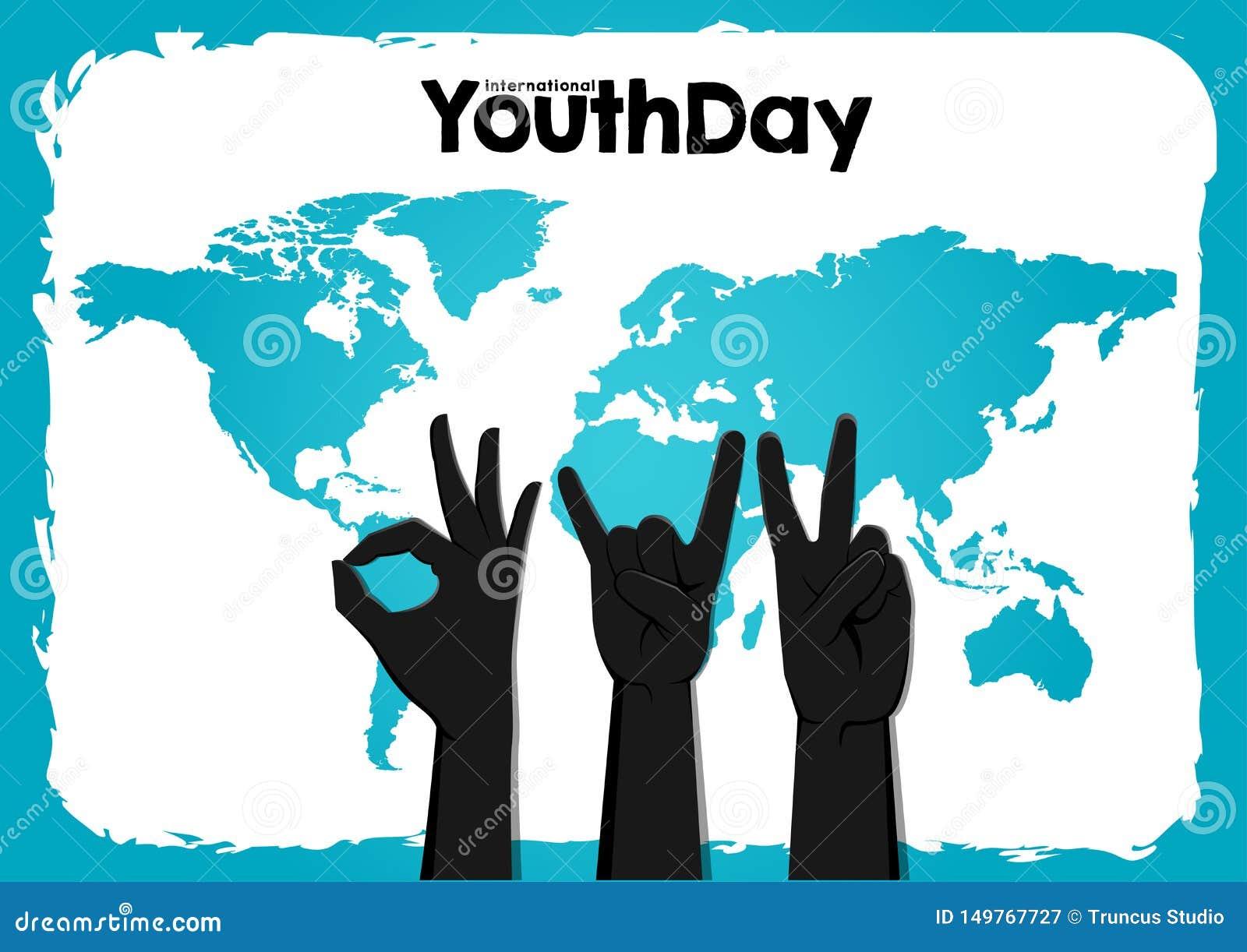 股票传染媒介国际青年天,8月12日圈子手在世界地图蓝色背景
