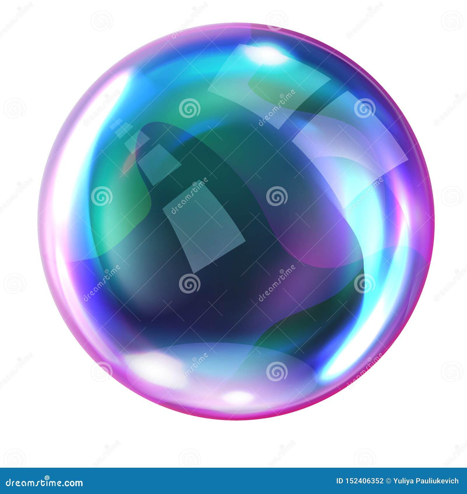 肥皂与反射的彩虹泡影