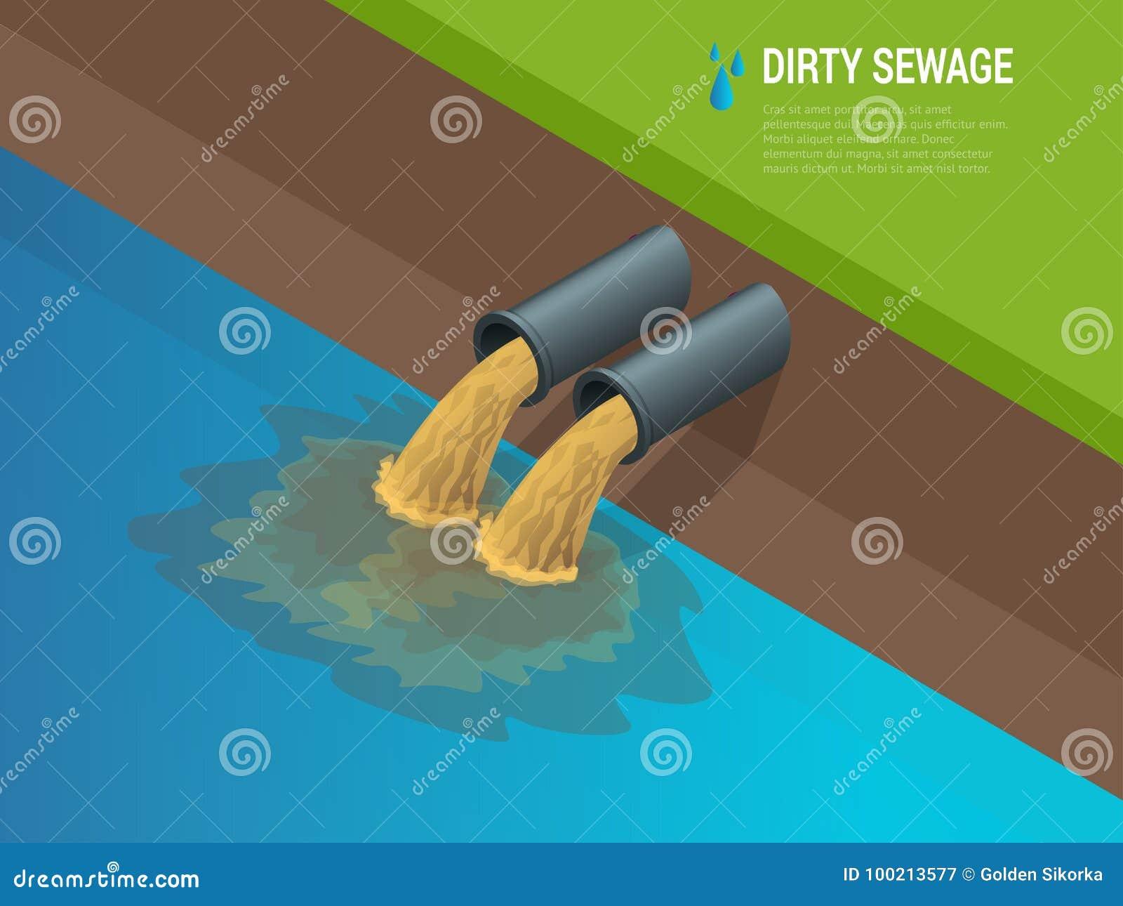 肮脏的水源于污染河尽职液体化学制品废物的管子