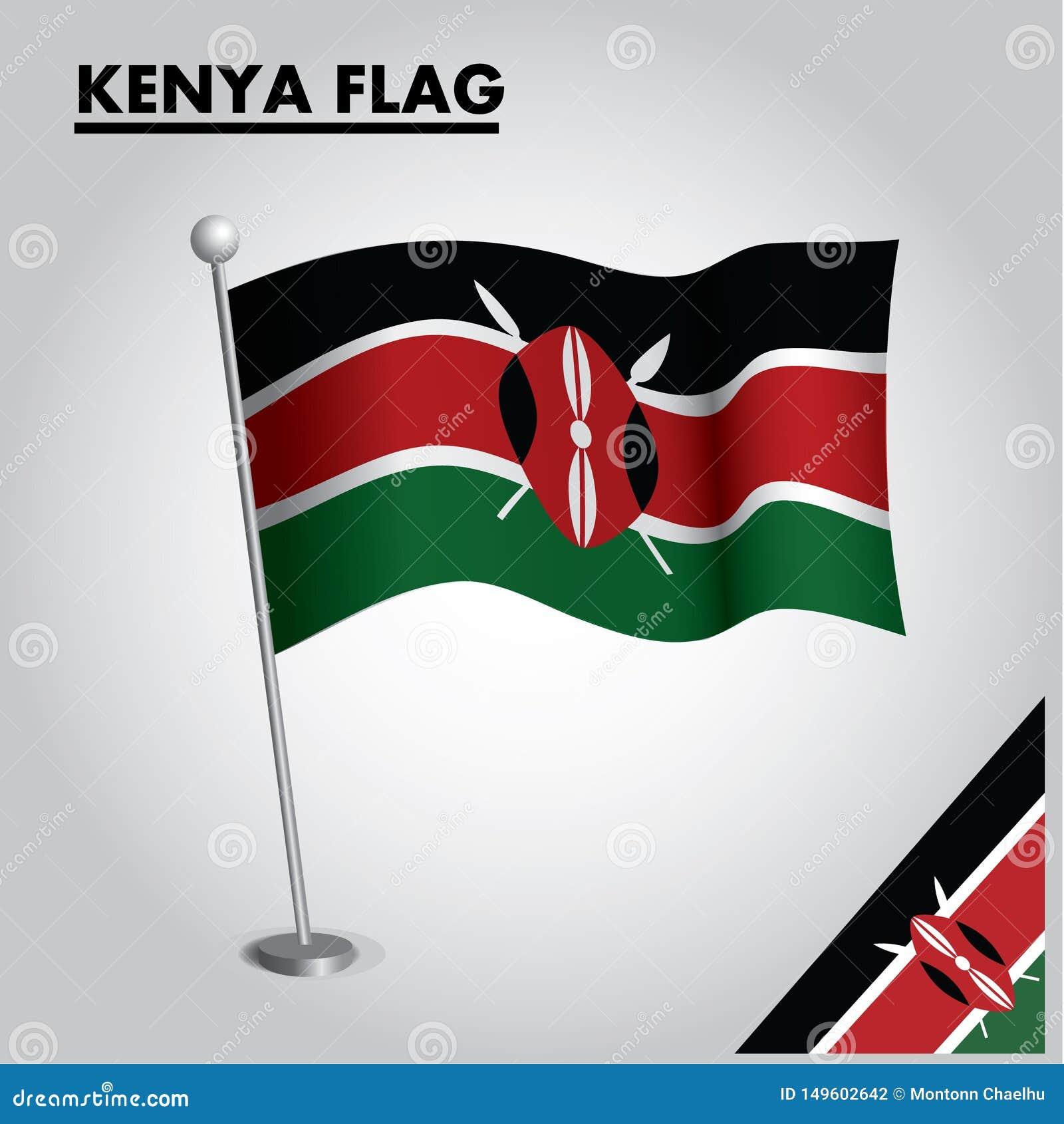 肯尼亚的肯尼亚旗子国旗杆的