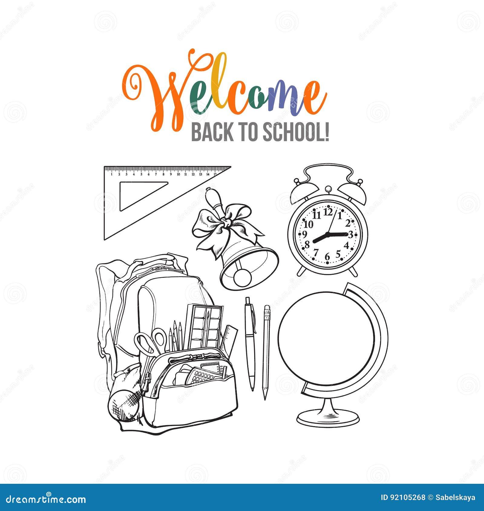 背包包装了与学校项目,闹钟,地球和响铃图片