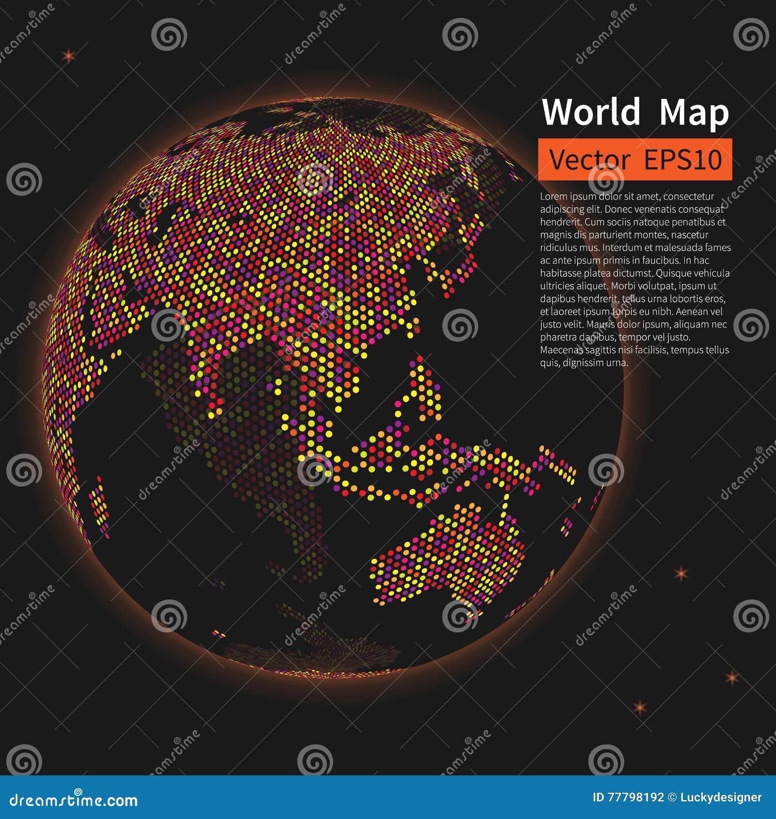 背景加点的映射世界 夜地球地球 全球化