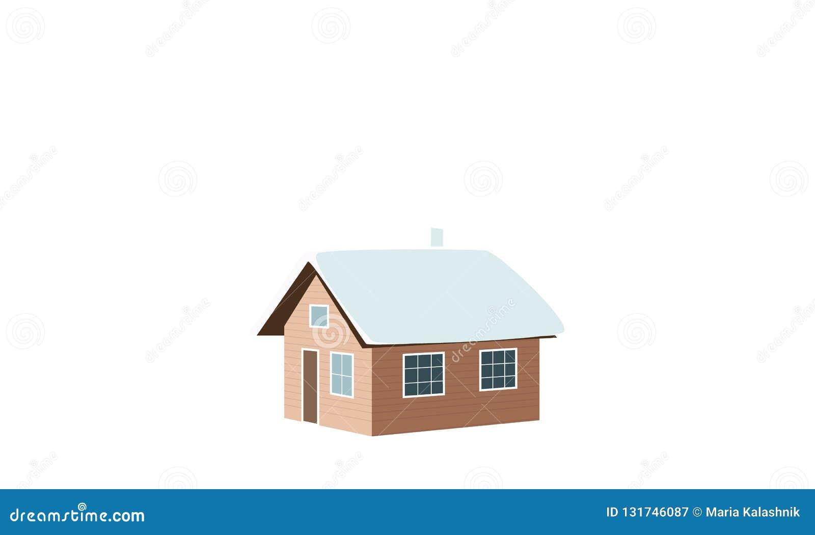背景圣诞节关闭红色时间 冬天房子,棚子,小屋,客舱,棚子,简陋小木屋,轻便小床,村庄,雪加盖了窗口烟囱烟传染媒介例证