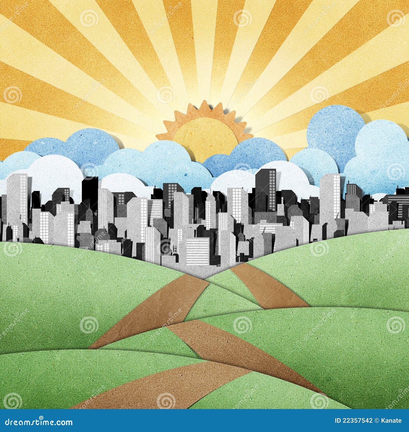 背景城市papercraft被回收的路