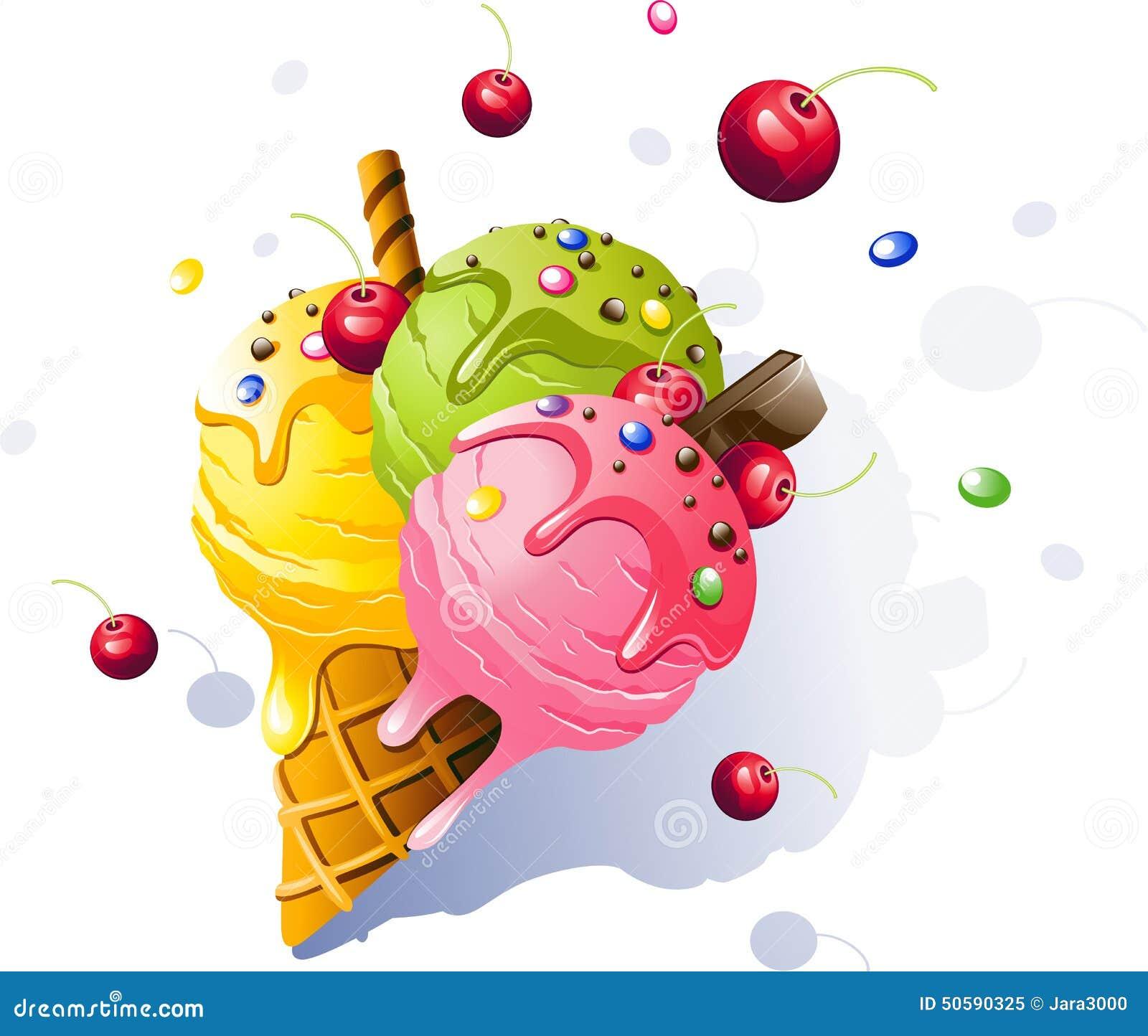 背景巧克力锥体提取乳脂在开心果草莓香草白色的冰冰淇凌