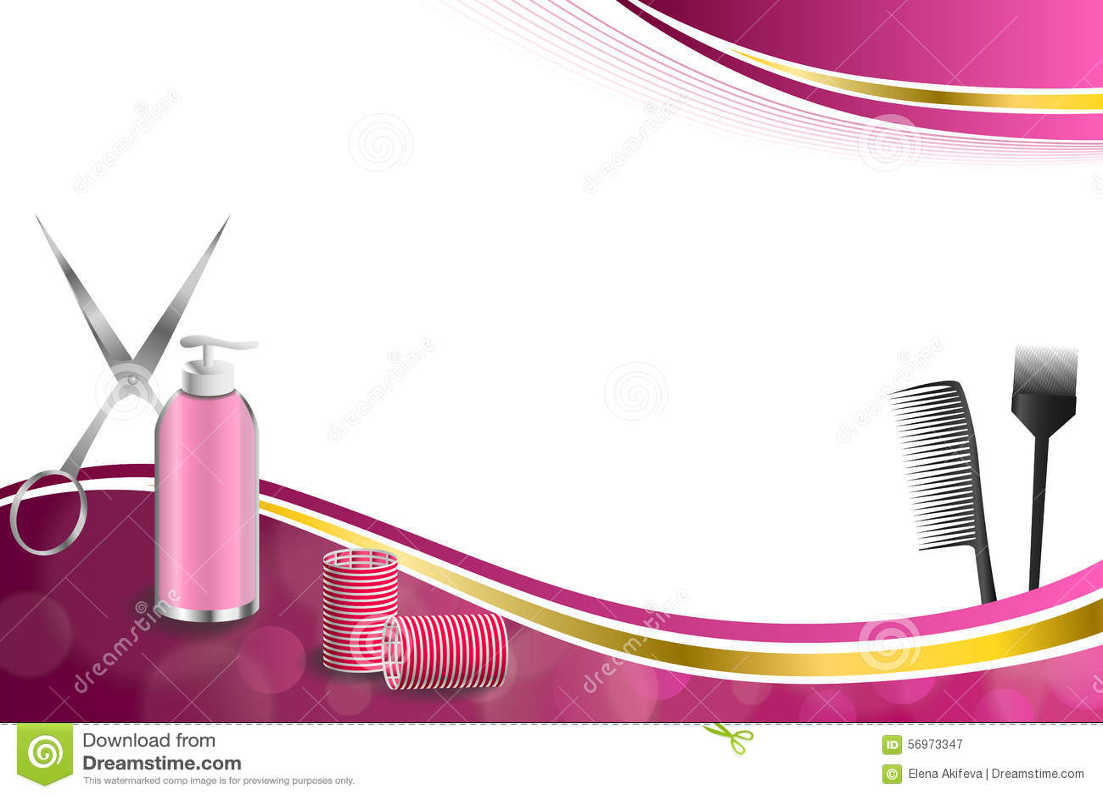 背景抽象桃红色理发理发师工具红色卷发的人剪刀掠过金丝带框架例证
