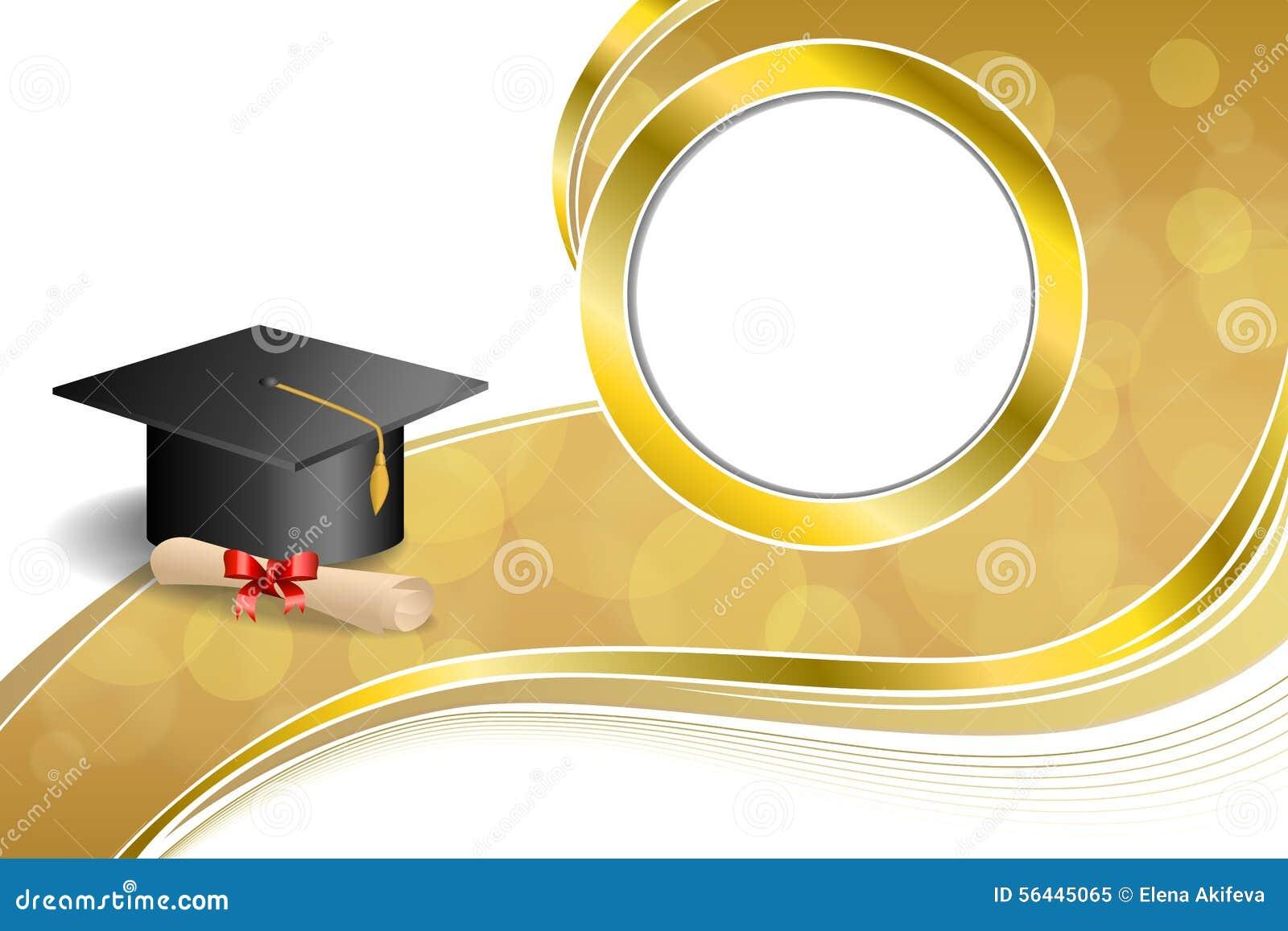 背景抽象米黄教育毕业盖帽文凭红色弓金圈子框架例证