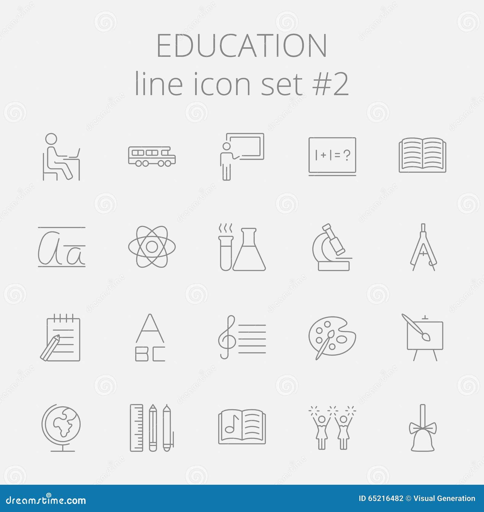 背景教育图标查出的集合白色