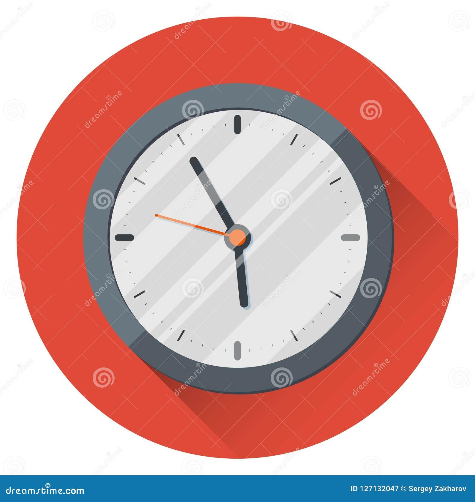 背景时钟查出在墙壁白色 17:55 五分钟到六 工作日的结尾 在橙色背景
