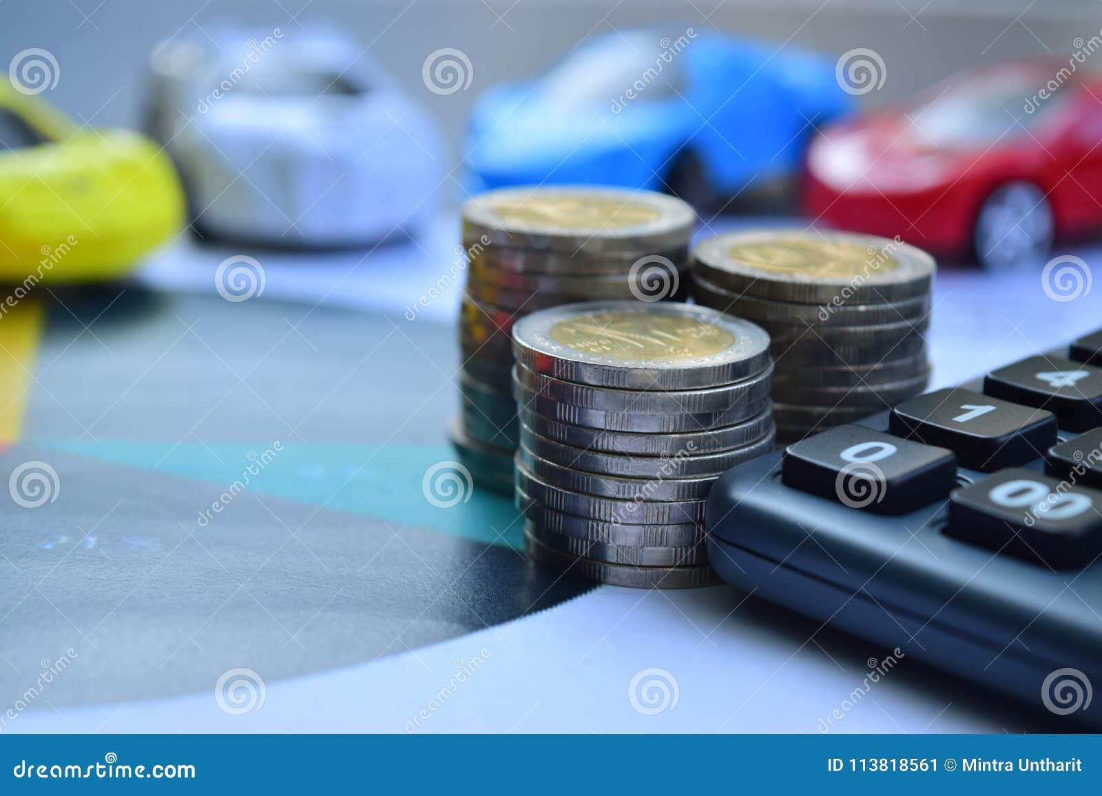 背景汽车例证保险向量白色 有硬币的汽车和计算器、财务和贷款