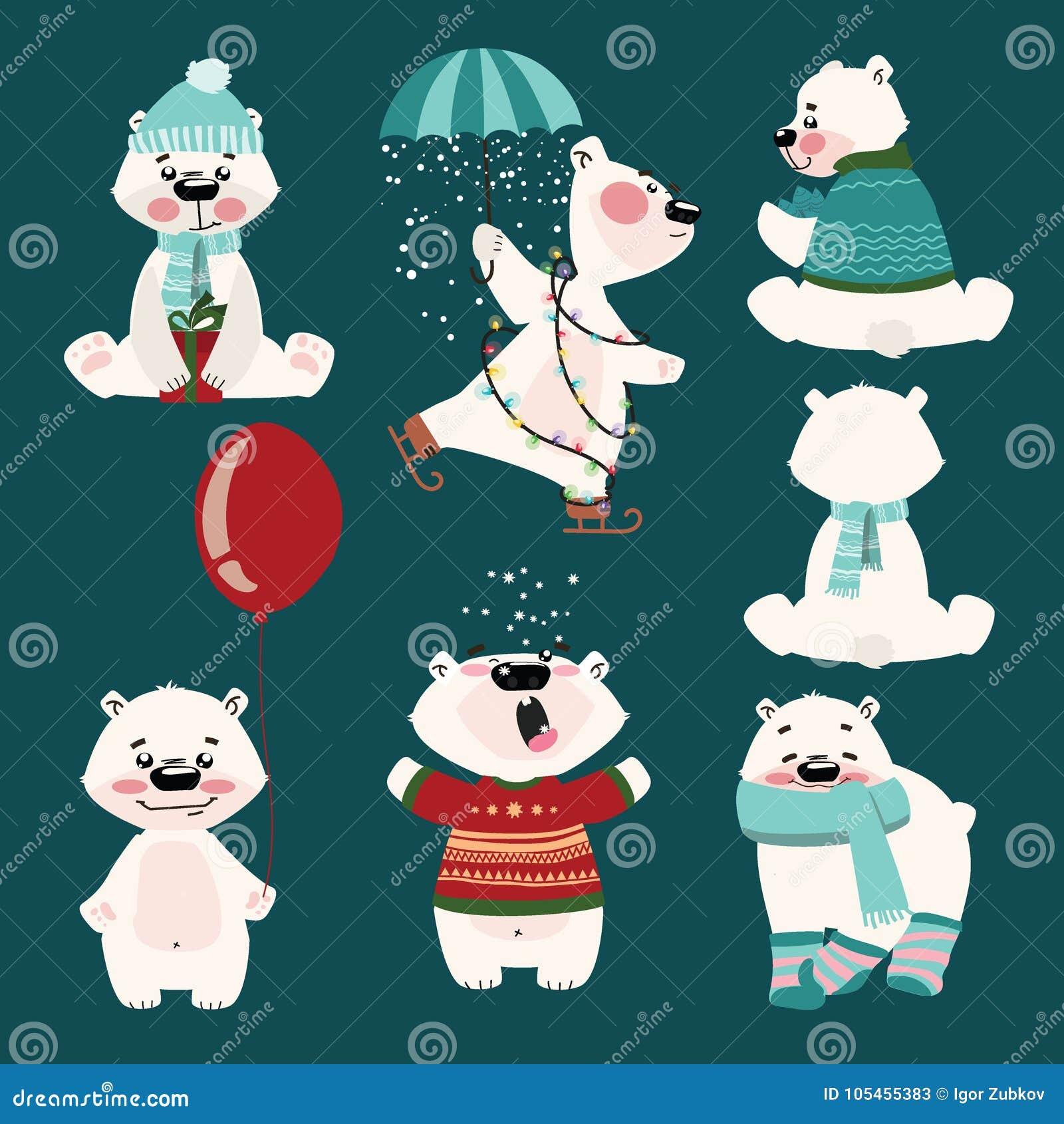 背景熊查出在极性集白色 动画片北极熊的汇集 孩子的圣诞节例证