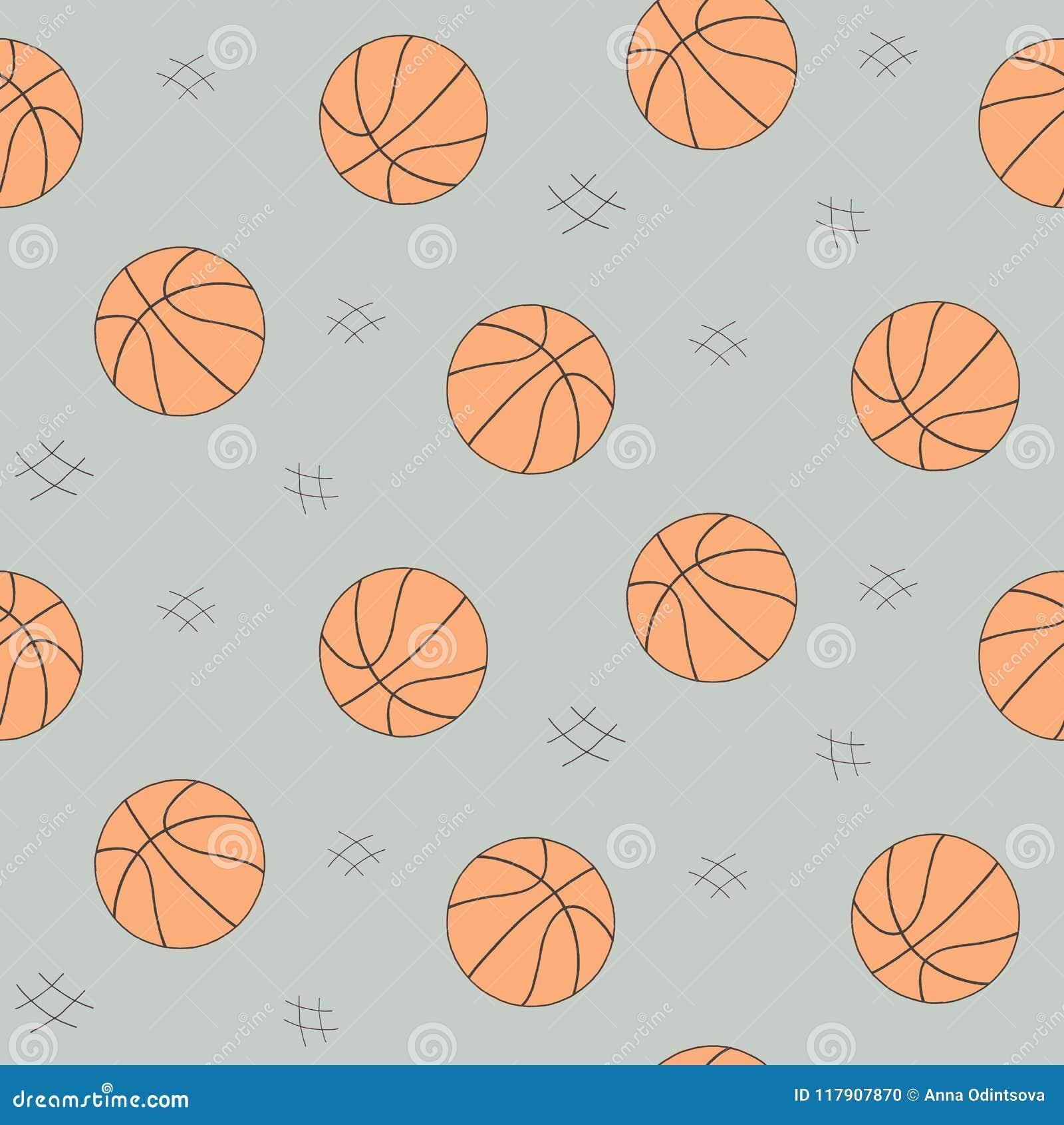 背景的,网,样式元素篮球球无缝的样式 手拉的草图 体育传染媒介汇集