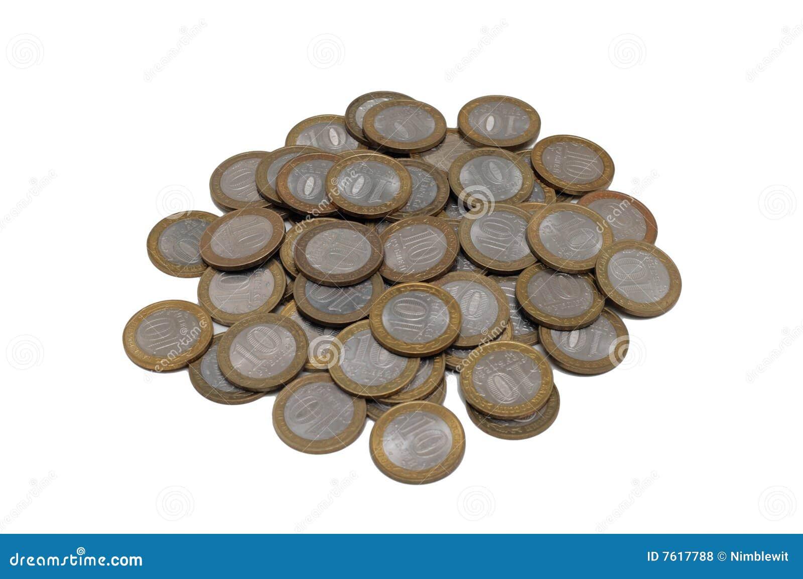 背景硬币查出白色