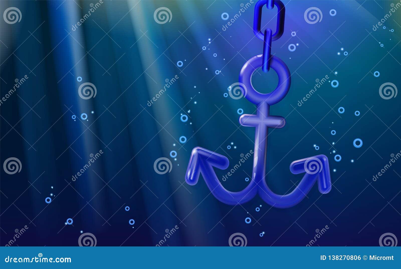 背景船舶船锚3d蓝色,环绕了塑料现实玩具 横幅船设备,例证海洋纹章 设计