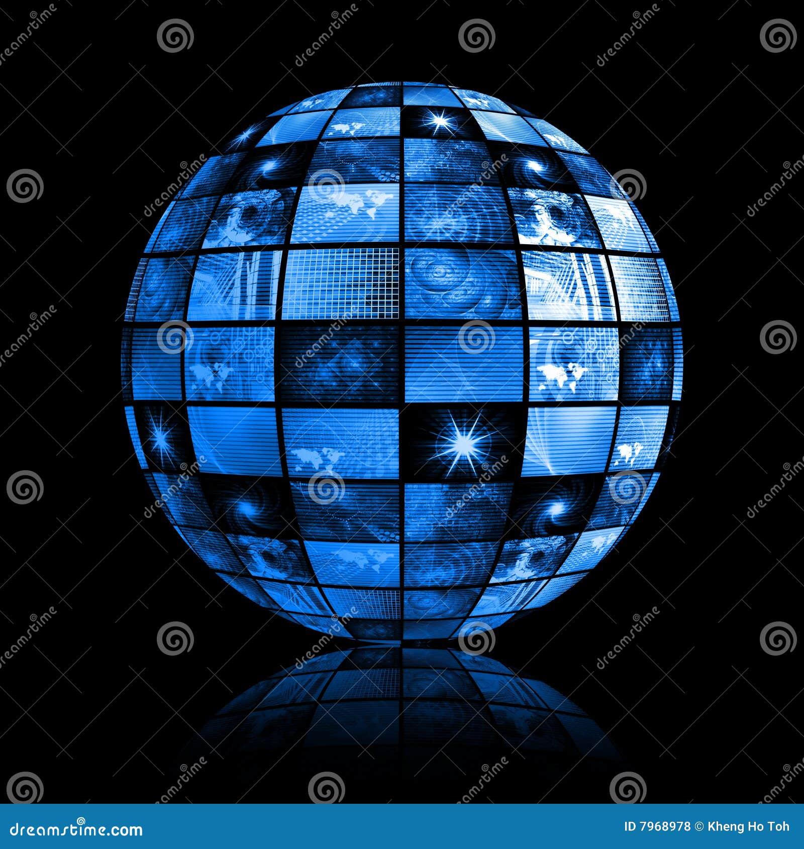 背景蓝色数字式未来派电视
