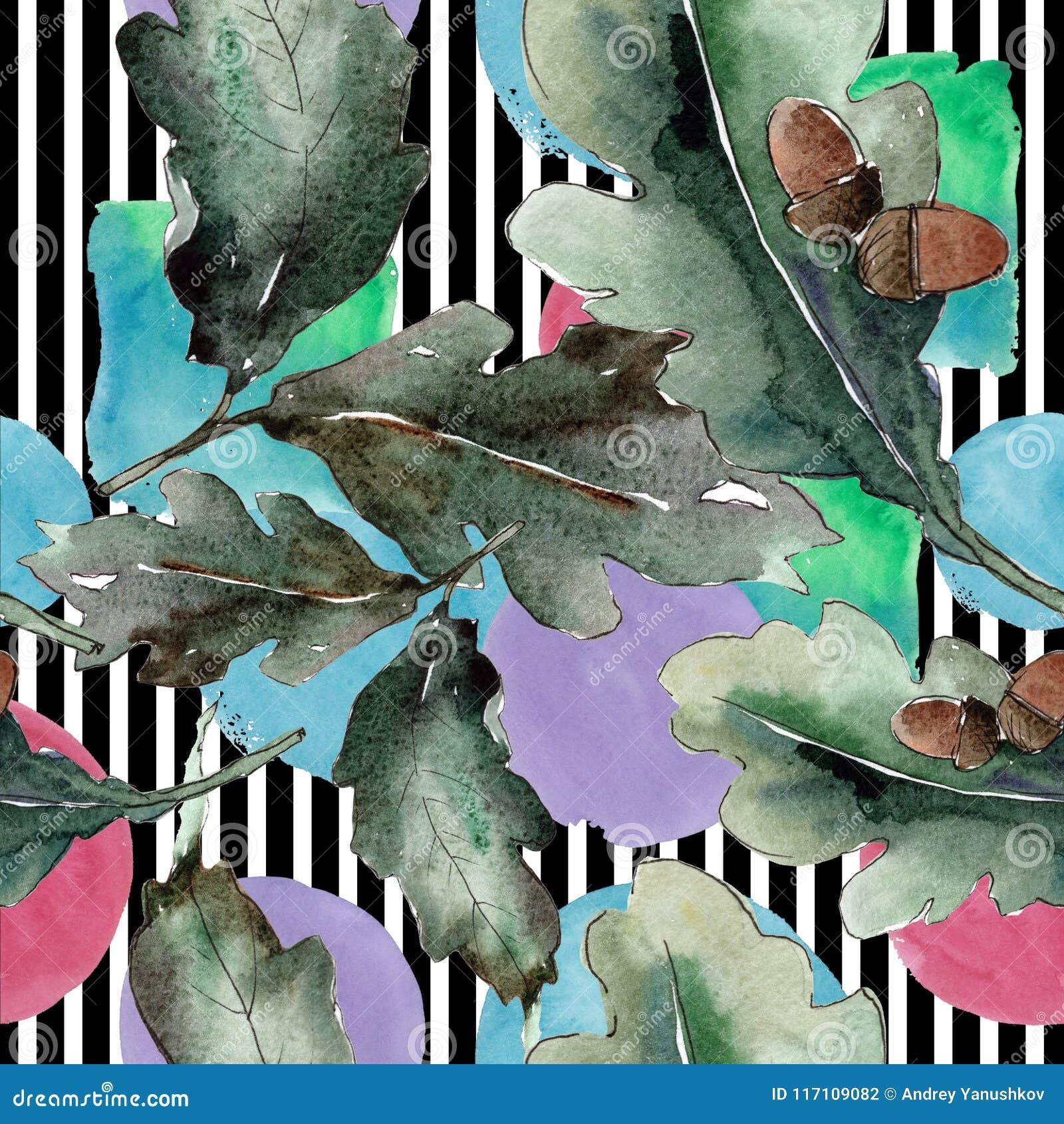 背景蓝色留下橡木天空 无缝的背景模式 织品墙纸印刷品纹理
