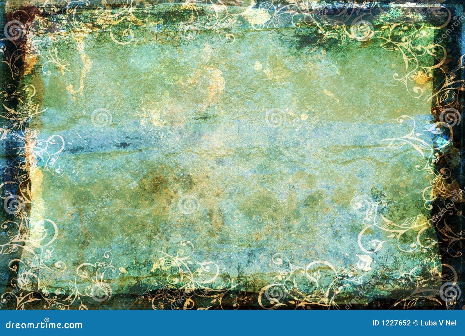 背景蓝色边界绿色grunge漩涡
