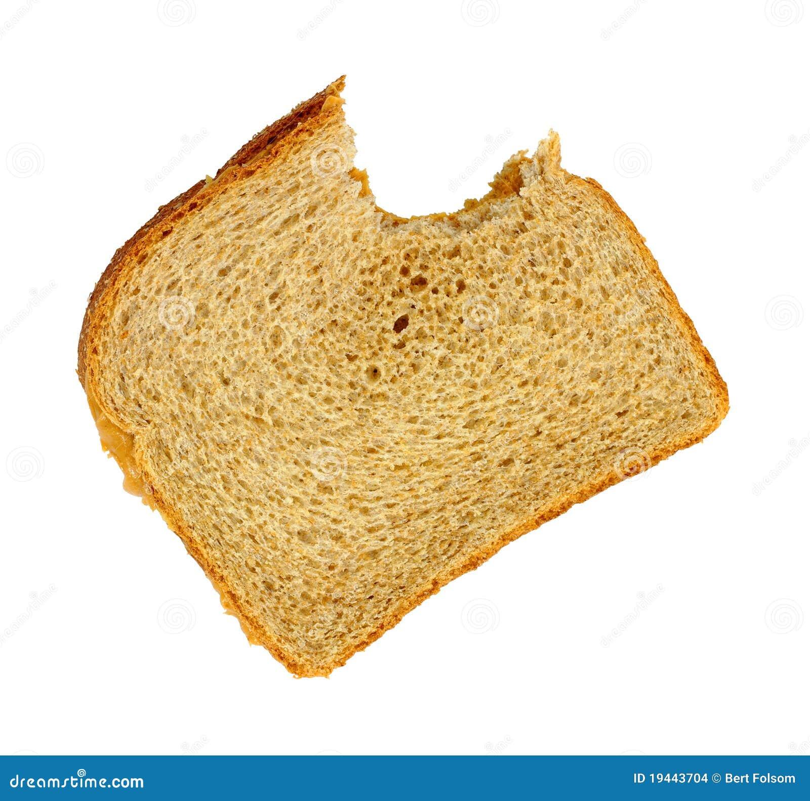 背景被咬住的黄油花生三明治白色