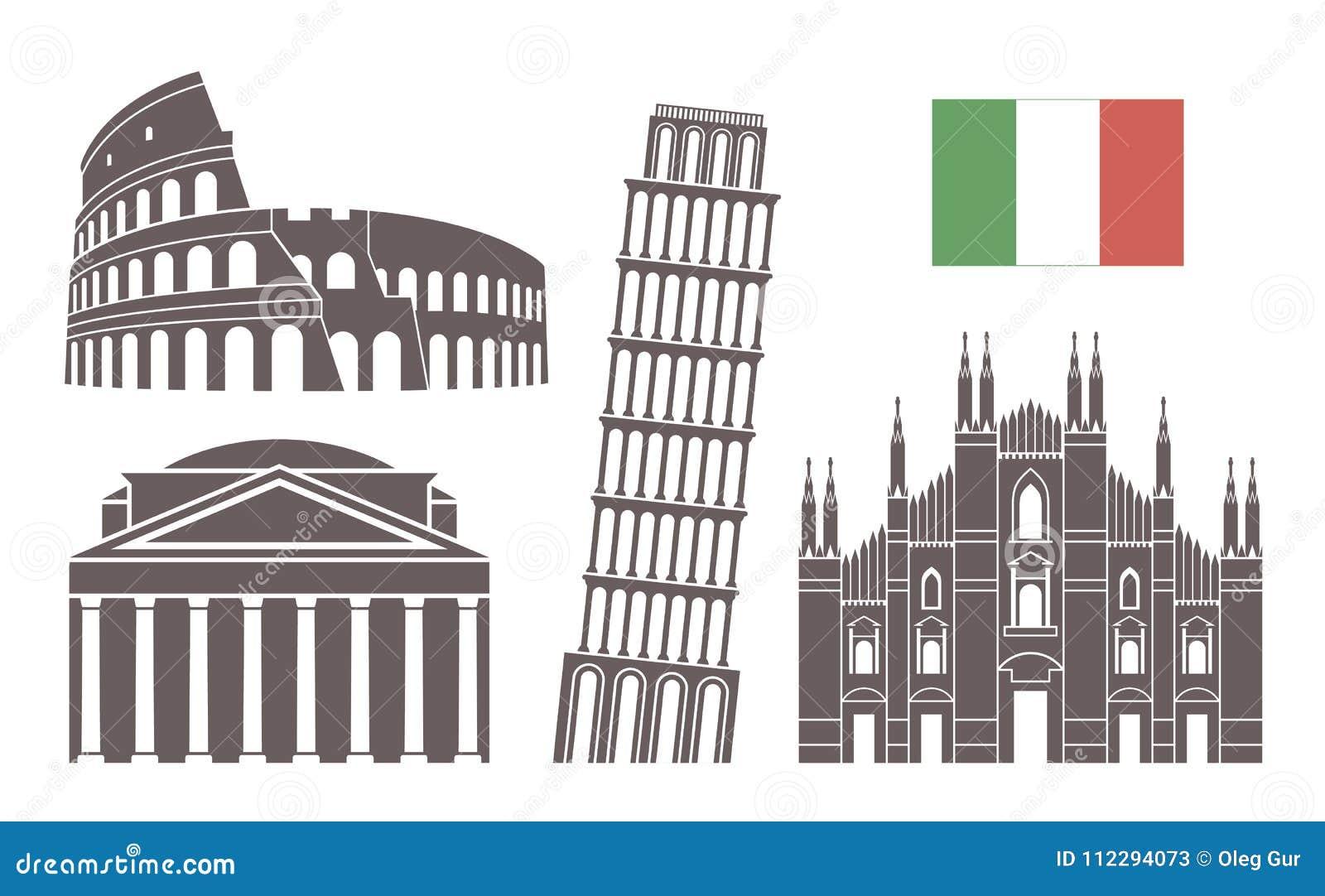 背景边界国家(地区)详述标志图标查出的意大利地区集合形状白色 在白色背景的被隔绝的意大利建筑学