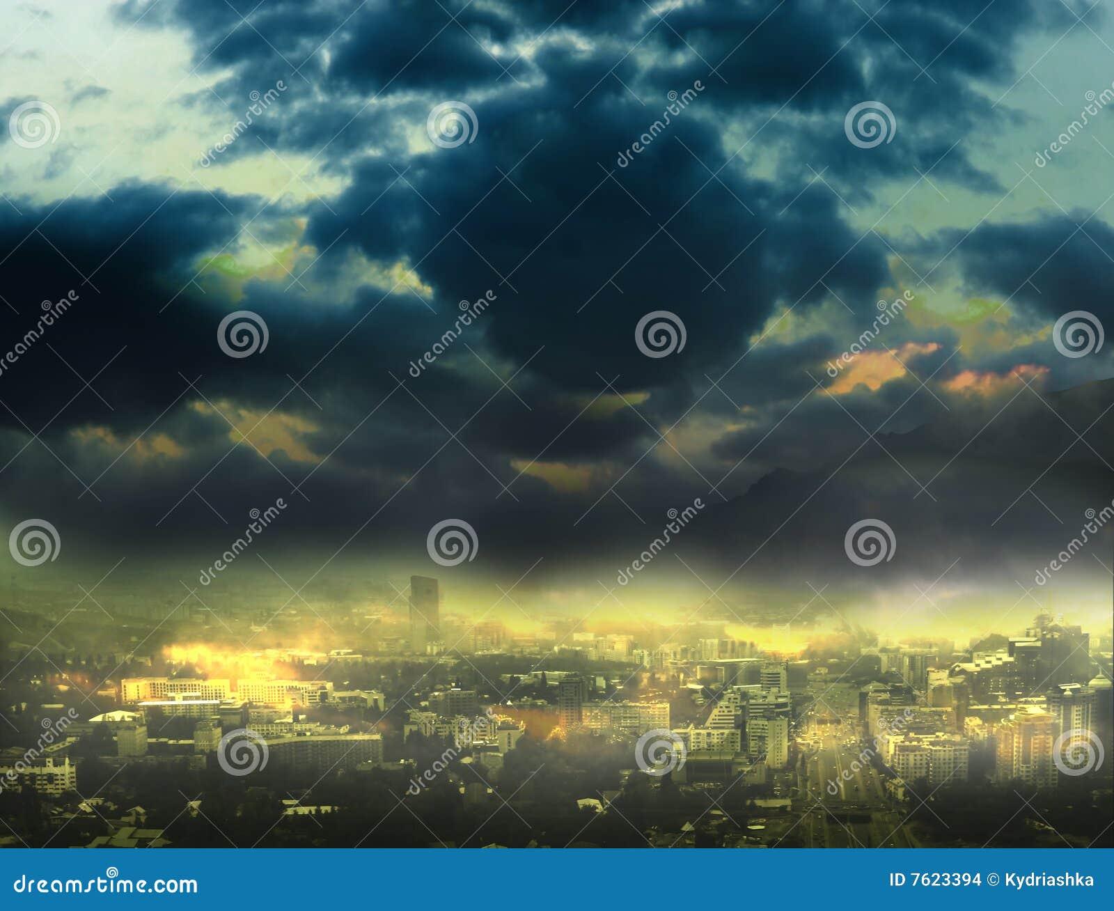 背景都市风景晚上场面