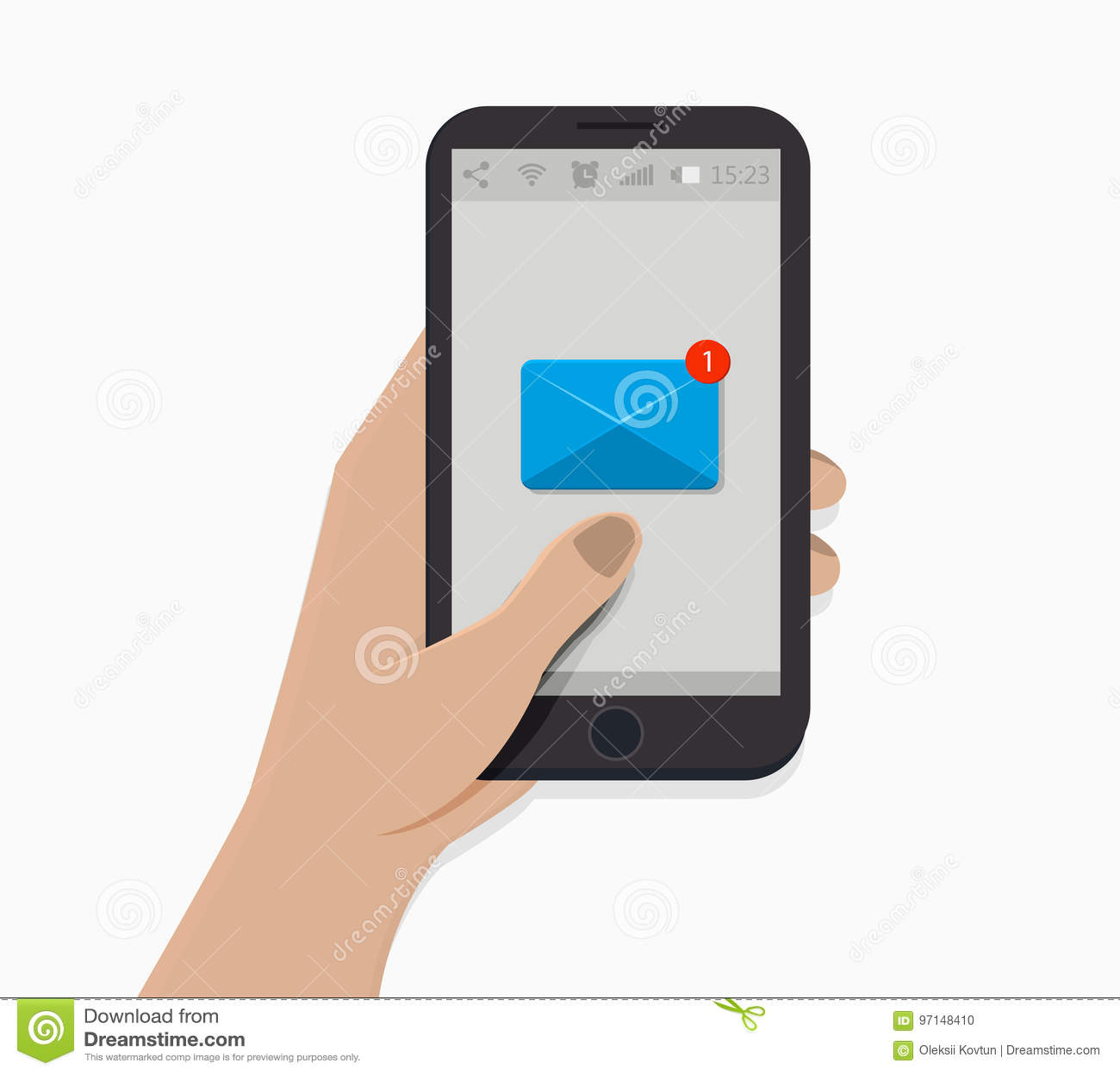 背景银行现有量藏品注意smartphone 也corel凹道例证向量 奶油被装载的饼干 时事通讯象 通知标志 平的样式 新的消息