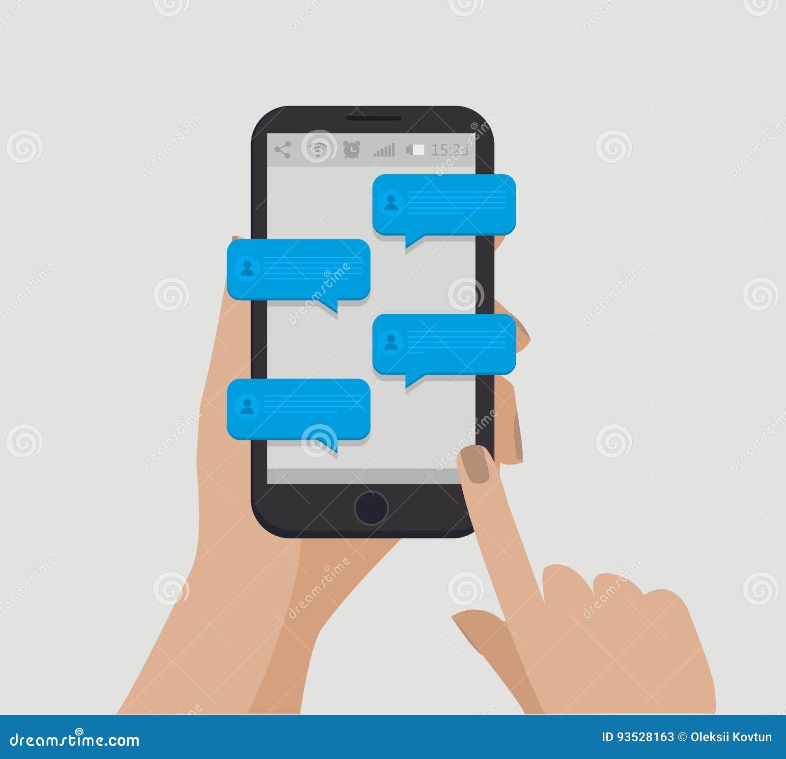 背景银行现有量藏品注意smartphone Chating概念 网上通信 也corel凹道例证向量