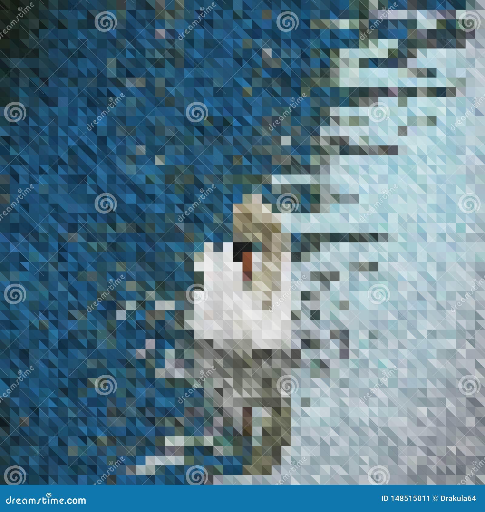 背景马赛克白色天鹅在水