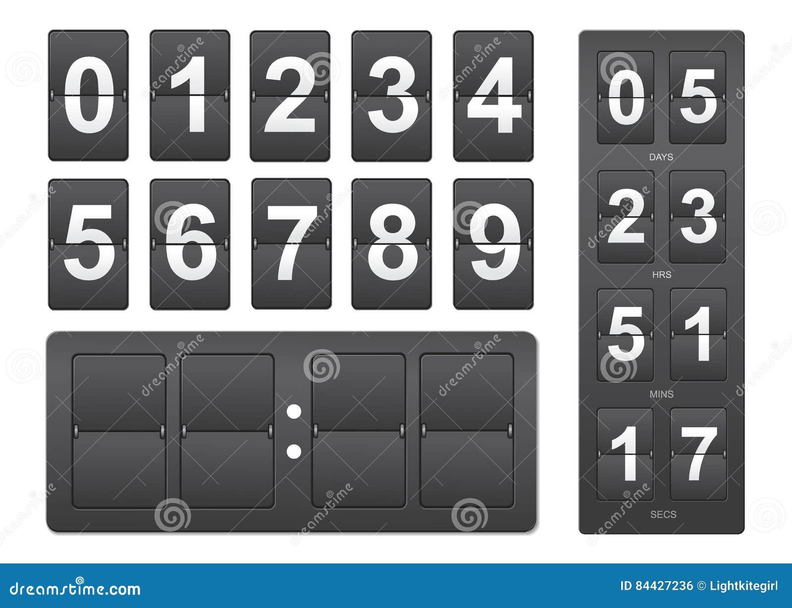 背景读秒设计例证定时器白色 黑机械记分牌盘区