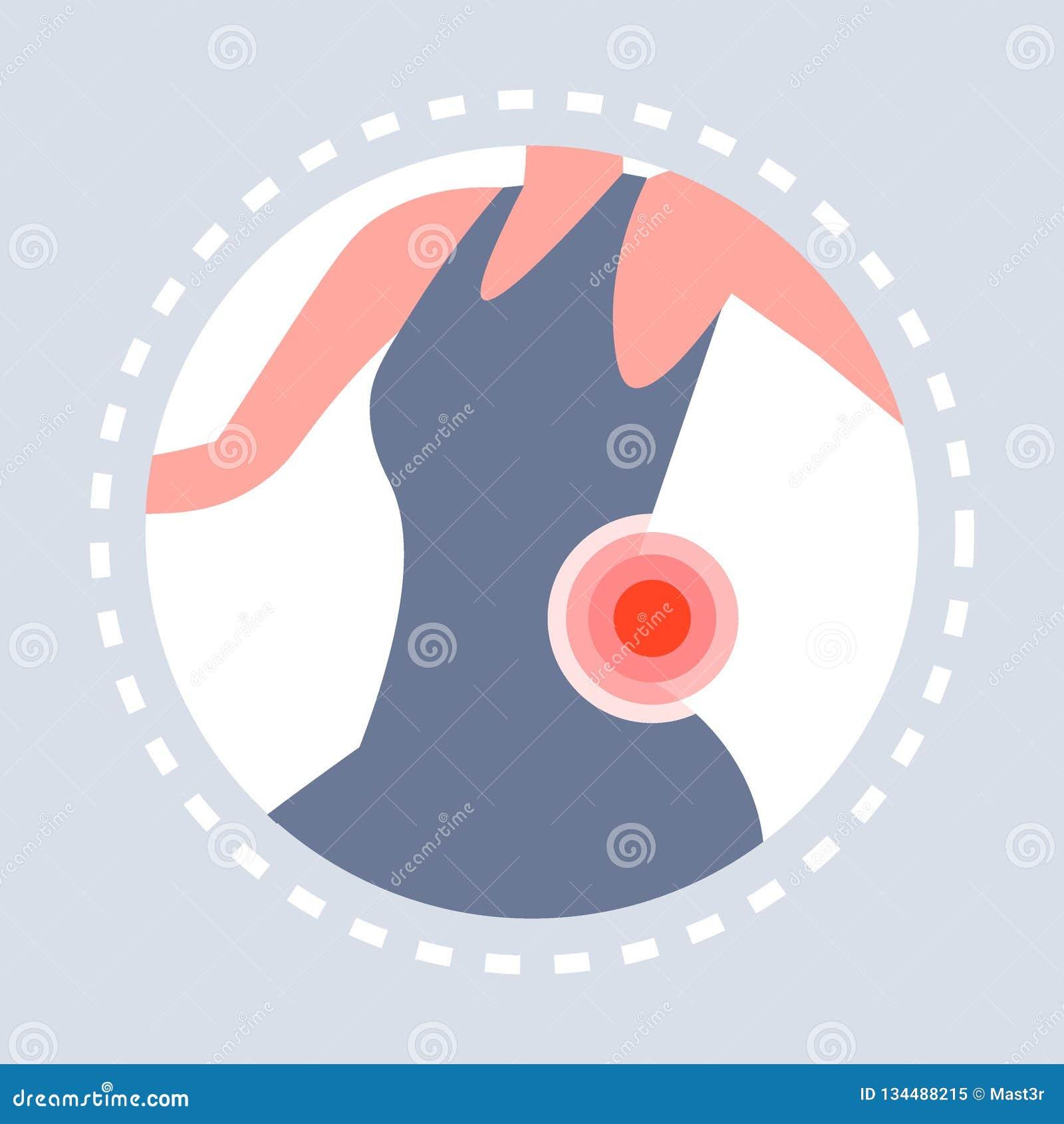 背部受伤感觉关节痛妇女身体象痛苦的区域在红色医疗保健医疗商标医学突出了