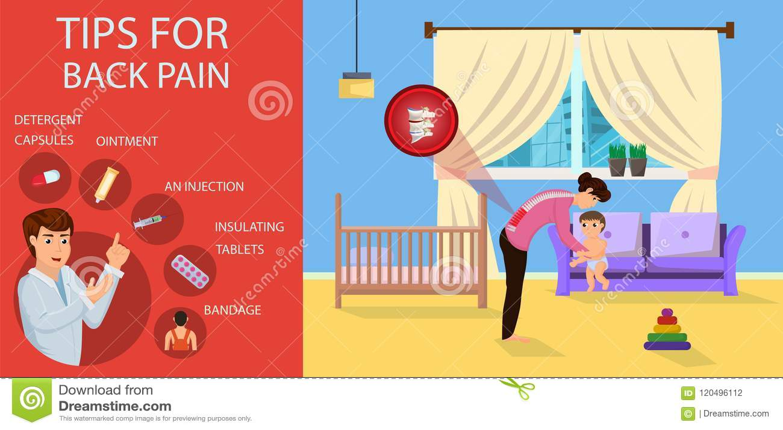 背部疼痛的技巧妈妈的 也corel凹道例证向量
