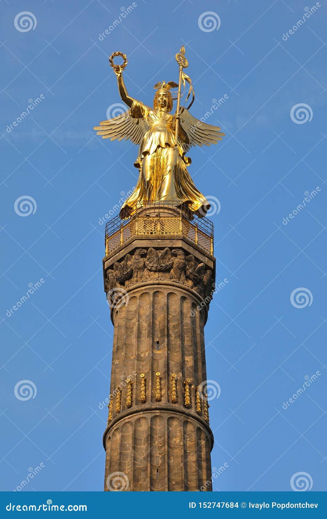 胜利专栏Siegessäule,柏林,德国德国古铜色维多利亚雕塑