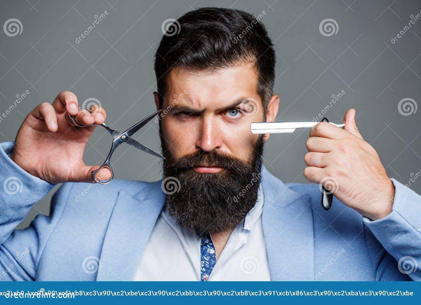 胡子人,有胡子的男性 画象胡子人 理发师剪刀和普通刀片,理发店,衣服 葡萄酒理发店