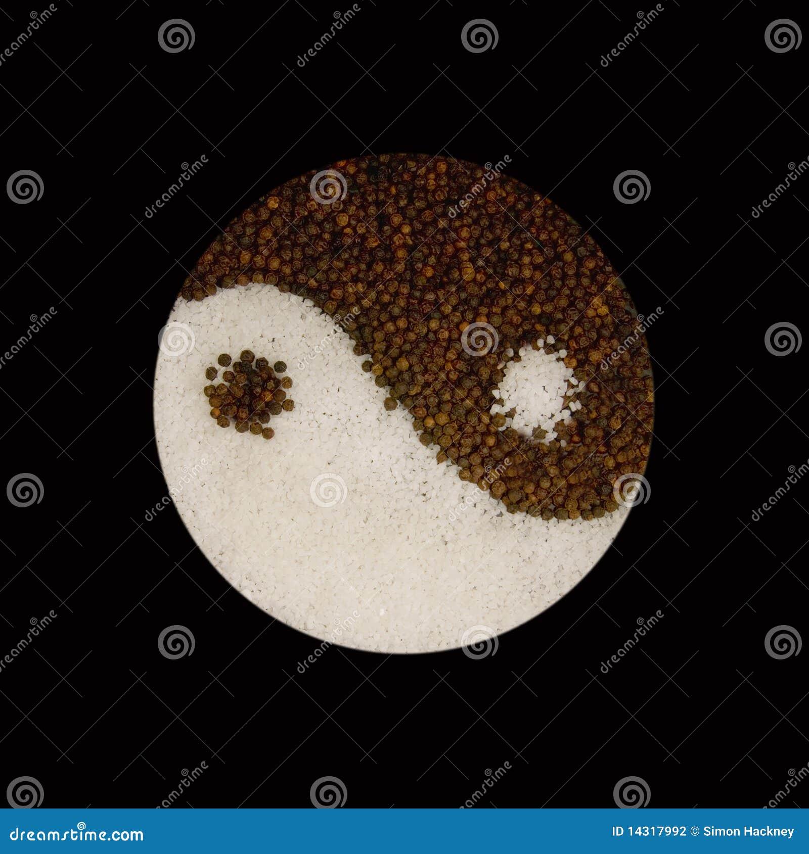 WWW_78YIN_COM_形成胡椒岩盐符号杨yin的背景黑色玉米.