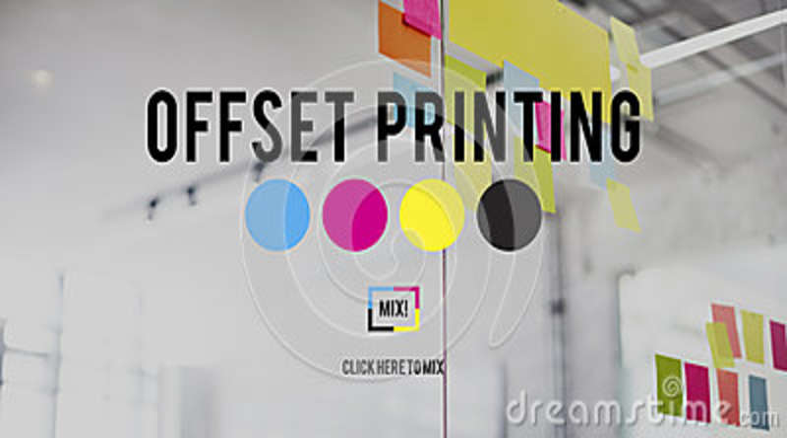 胶印过程CMYK深蓝洋红色黄色关键性概念