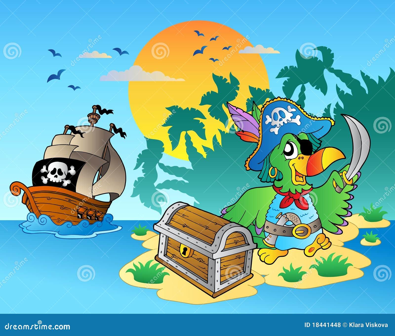 海盗和鹦鹉_胸口海岛鹦鹉海盗