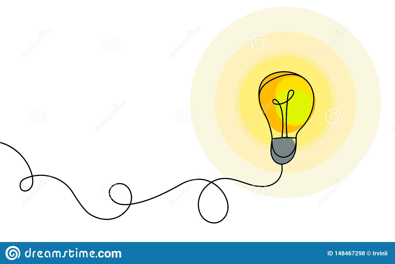 能量和想法标志,电灯泡